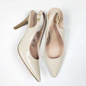 Attention | Nude Patent Slingback Heels